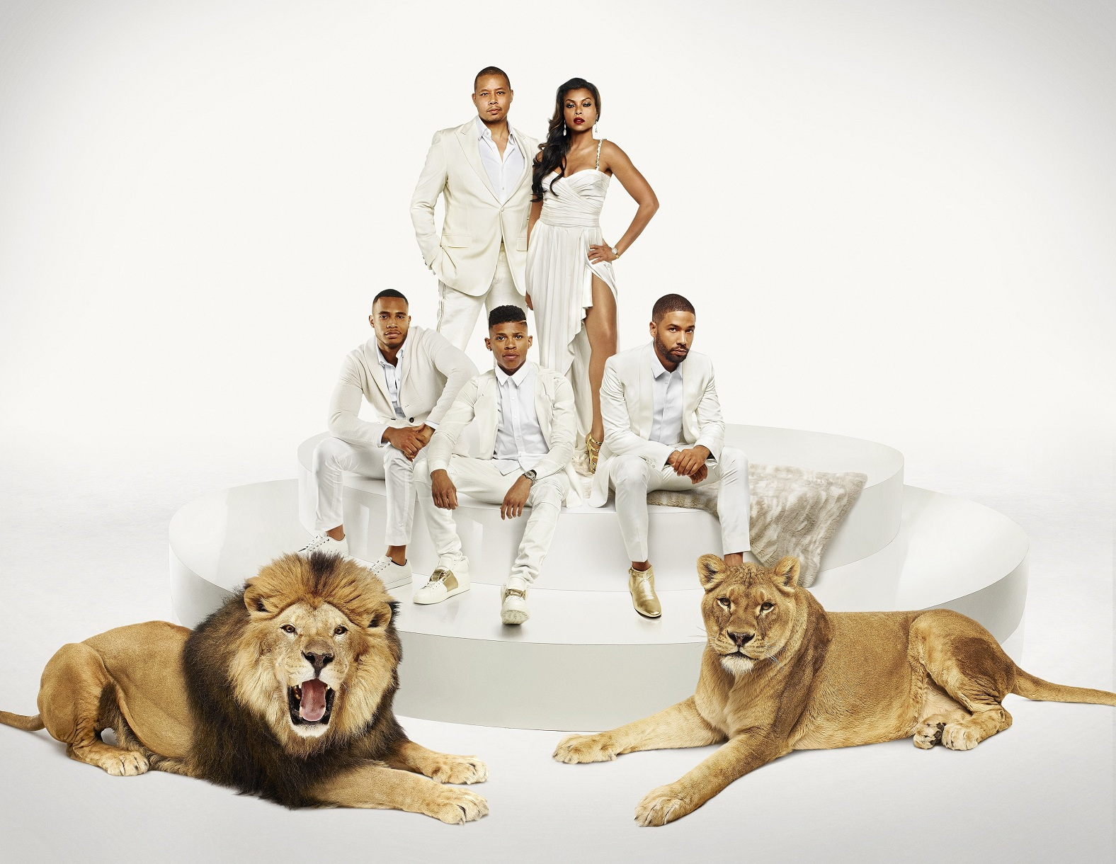 EMPIRE: Cast Pictured L-R: (Bottom Row) Trai Byers as Andre Lyon, Bryshere Gray as Hakeem Lyon and Jussie Smollett as Jamal Lyon (Top Row) Terrence Howard as Lucious Lyon and Taraji P. Henson as Cookie Lyon in EMPIRE. Season Two premieres Wednesday, Sept. 23 (9:00-10:00 PM ET/PT) on FOX. ©2015 Fox Broadcasting Co. Cr: James Dimmock/FOX.